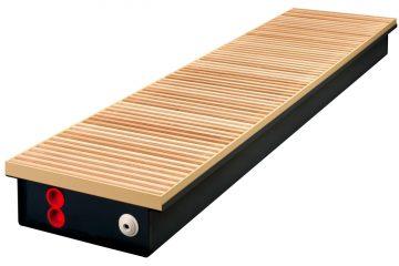Grzejnik kanałowy z drewnianym podestem